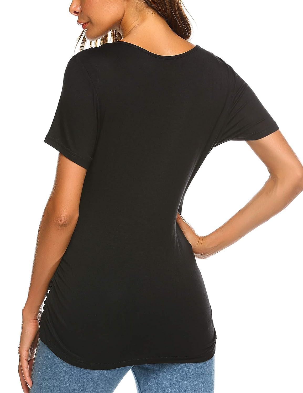 S-XXL EKOUAER Damen kurz/ärmliges Still-T-Shirt mit V-Ausschnitt zweilagig