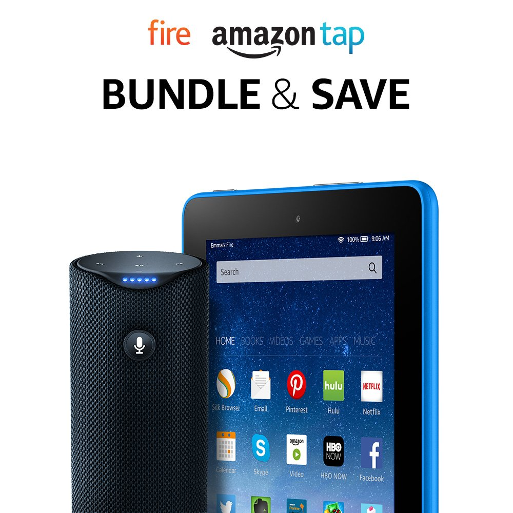"Amazon.com: Fire Tablet, 7"" Display, 16 GB - includes Special Offers +  Amazon Tap – Alexa-Enabled Portable Bluetooth Speaker: Kindle Store"