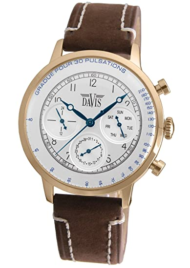 Davis 1926 - Reloj de pulsera hombre médico, acero oro rosa, esfera de acero