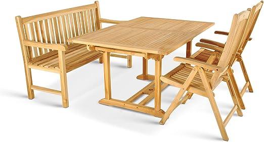 XXS muebles para jardín de Cuba 6 tlg con cuatro sillas plegables Aruba banco Caracas blanco