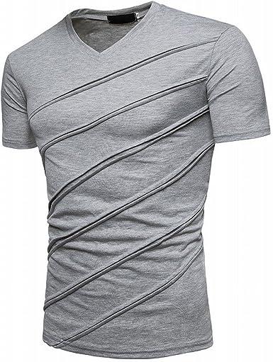 PIZZ ANNU Camiseta de Manga Corta Hombre Summer Fashion Camiseta con Cuello de Pico Plisado