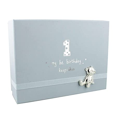 Button Corner Baby 1st Birthday Paperwrap Keepsake Box With Teddy Blue CG936B Amazoncouk