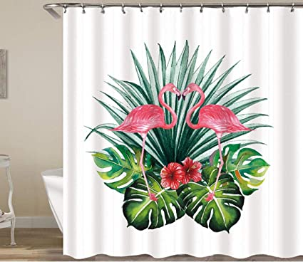 Tropical Flamingos Sketch Bathroom Waterproof Fabric Shower Curtain 12 Hooks