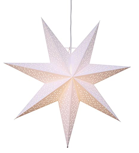 Pantalla de papel para lámpara de techo, 54 cm, diseño de estrella con perforaciones, color blanco