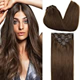 GOO GOO Clip in Human Hair Extensions Chocolate Brown 18 Inch 120g 7pcs Remy Natural Hair Extensions Clip in Straight…