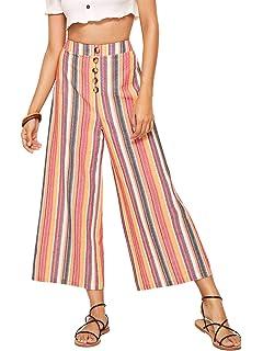 fb3f4d0db0 SweatyRocks Women's Striped High Waisted Lounge Wide Leg Palazzo Pants  Capris