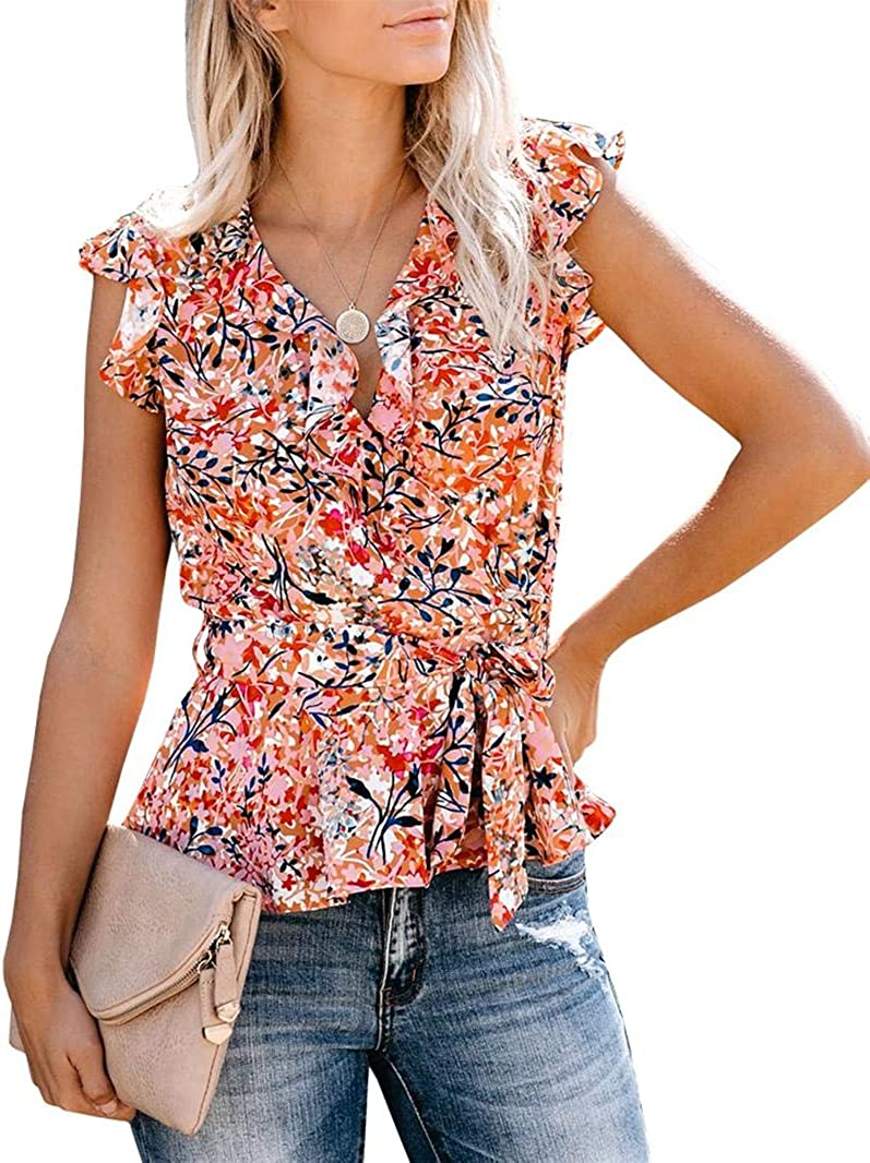Womens Floral V Neck Tops Long Sleeve Wrap Chiffon Ruffle Blouses Tie Waist Knot Shirts