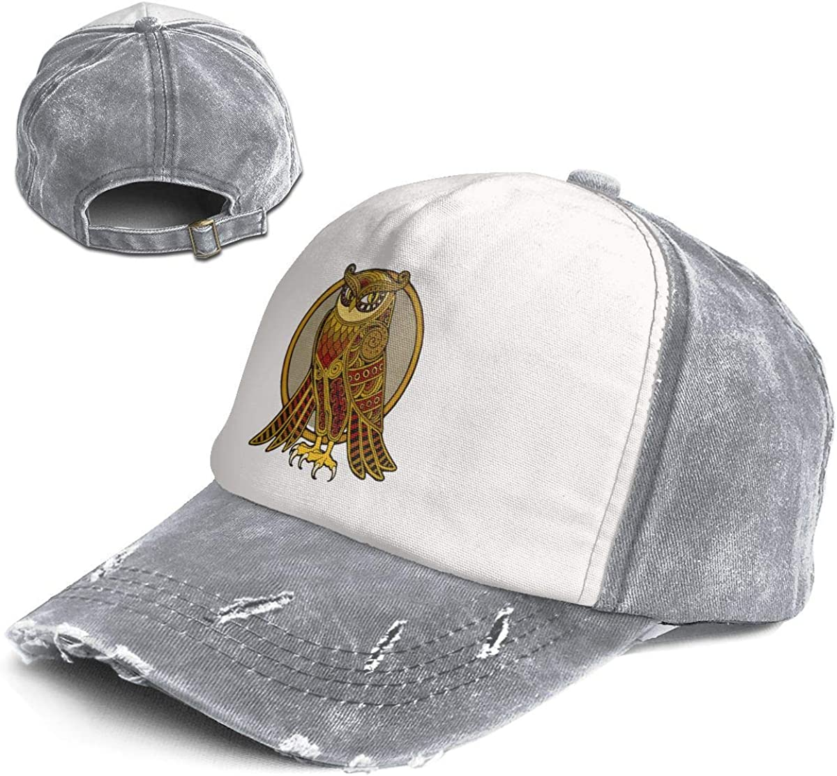 Owl Design Trend Printing Cowboy Hat Fashion Baseball Cap for Men and Women Black and White