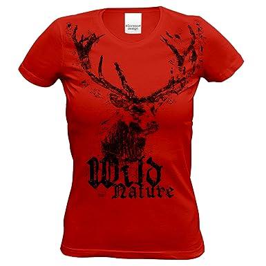45ff58d62e Soreso Design Trachten Damen T-Shirt Hirsch : Trachtenshirt für Oktoberfest  Volksfest Mädchen und Frauen : Wild Nature Farbe: Rot: Amazon.de: Bekleidung