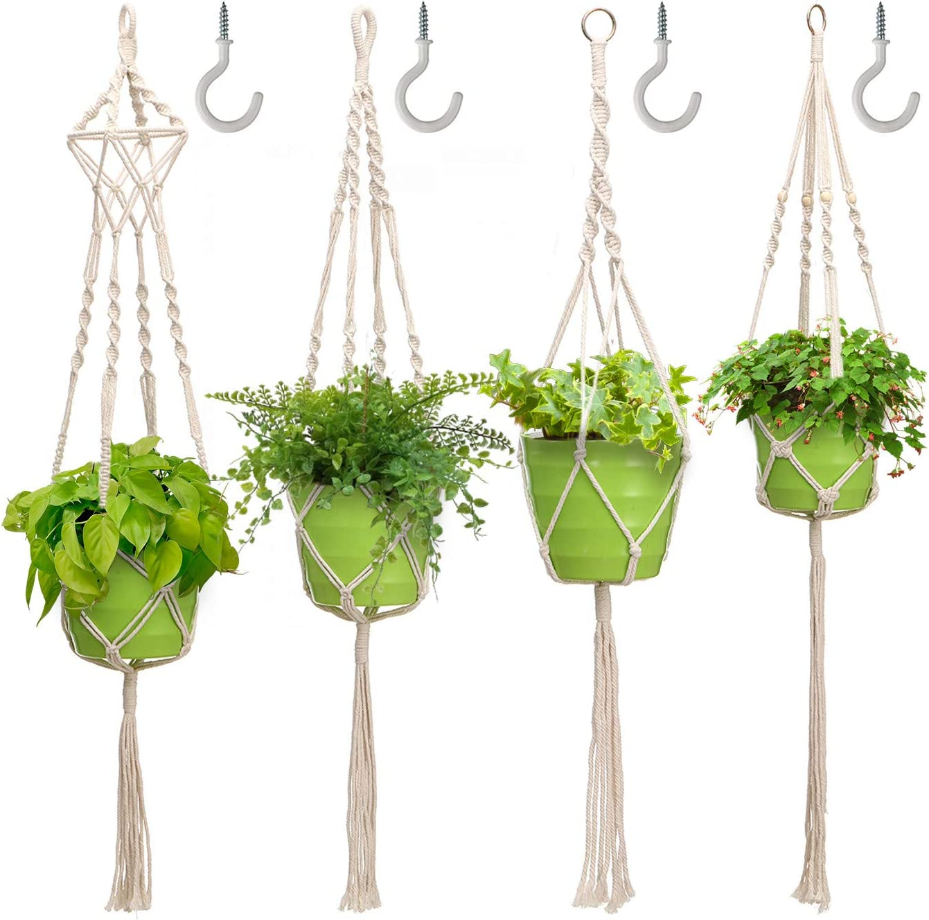 Tvird Macrame Plant Hangers,4 Pack Indoor Hanging Planter with 4 Hooks,41 Inch Handmade Cotton Hanging Plant Holder with 4 Legs for Home,Garden,Office Decor (Rice White)