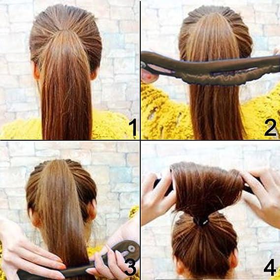 2 Pcs Women Hair Styling Updo Donut Bun Clip Tool French Twist Maker Holder Hot