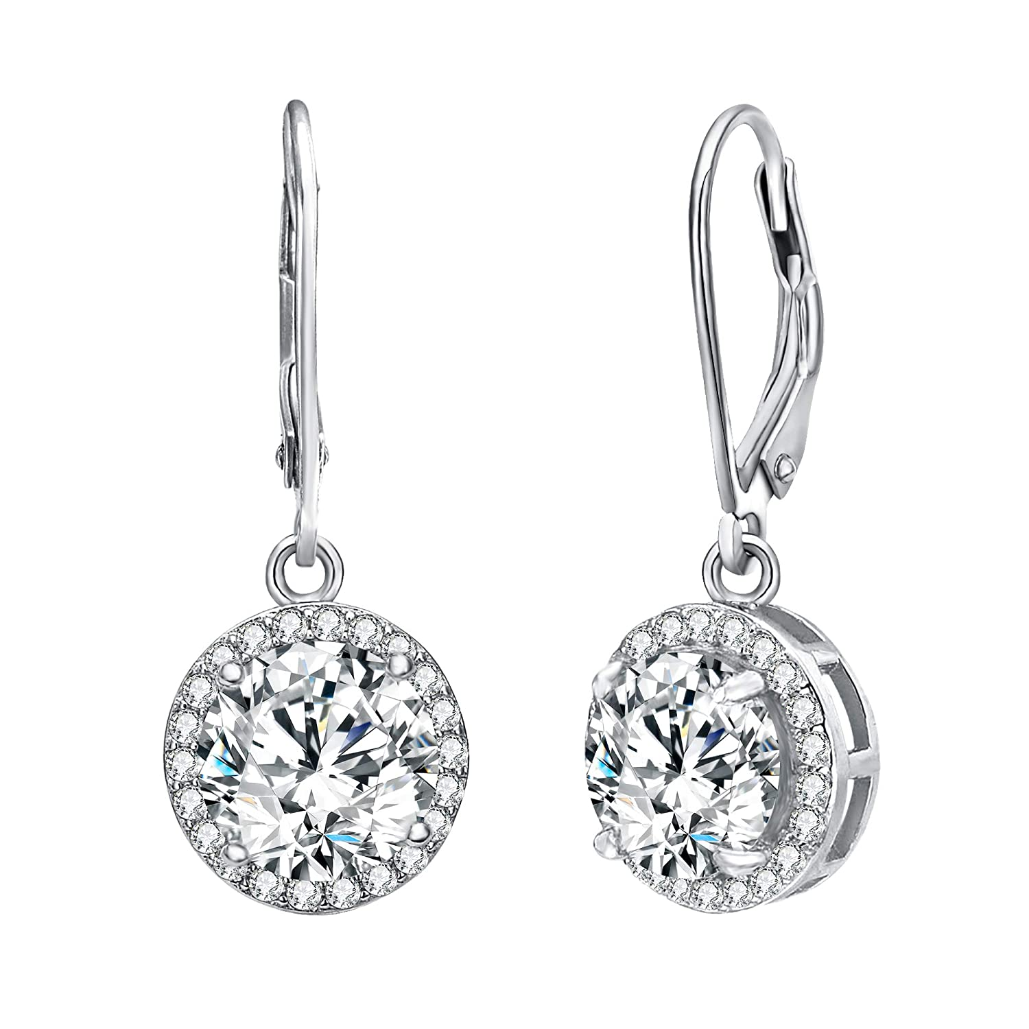 358d4af26 Amazon.com: EVER FAITH 925 Sterling Silver Elegant Round CZ Prong Setting  Leverback Dangle Earrings Clear: Jewelry