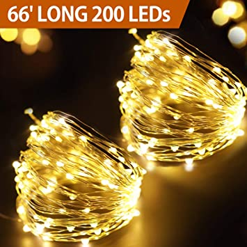Bright Zeal 66' Long LED Warm White Christmas Lights White Wire Outdoor  Battery Operated - - Amazon.com : Bright Zeal 66' Long LED Warm White Christmas Lights