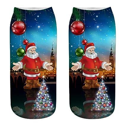 DeemoShop Women 3D Christmas Socks Unisex Cartoon Elk Snowman Santa Sock Low Cut Ankle Printed Christmas
