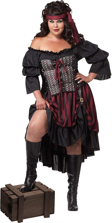 Mens Caribbean Pirate 6 Piece Fancy Dress Costume XL
