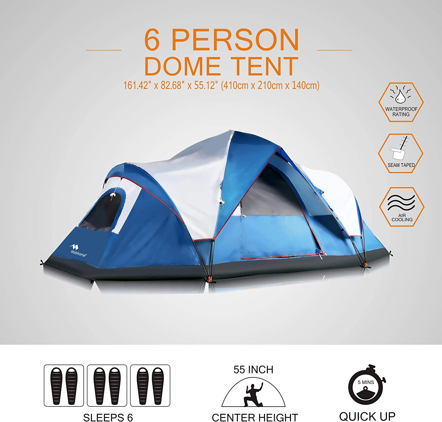 13.5 x 7 with Water-Resistant Rainfly and Mesh Roofs /& Door /& Windows Instant Extended Pop Up Dome Tents Outdoor Mobihome 6 Person Tent Family Camping Quick Setup