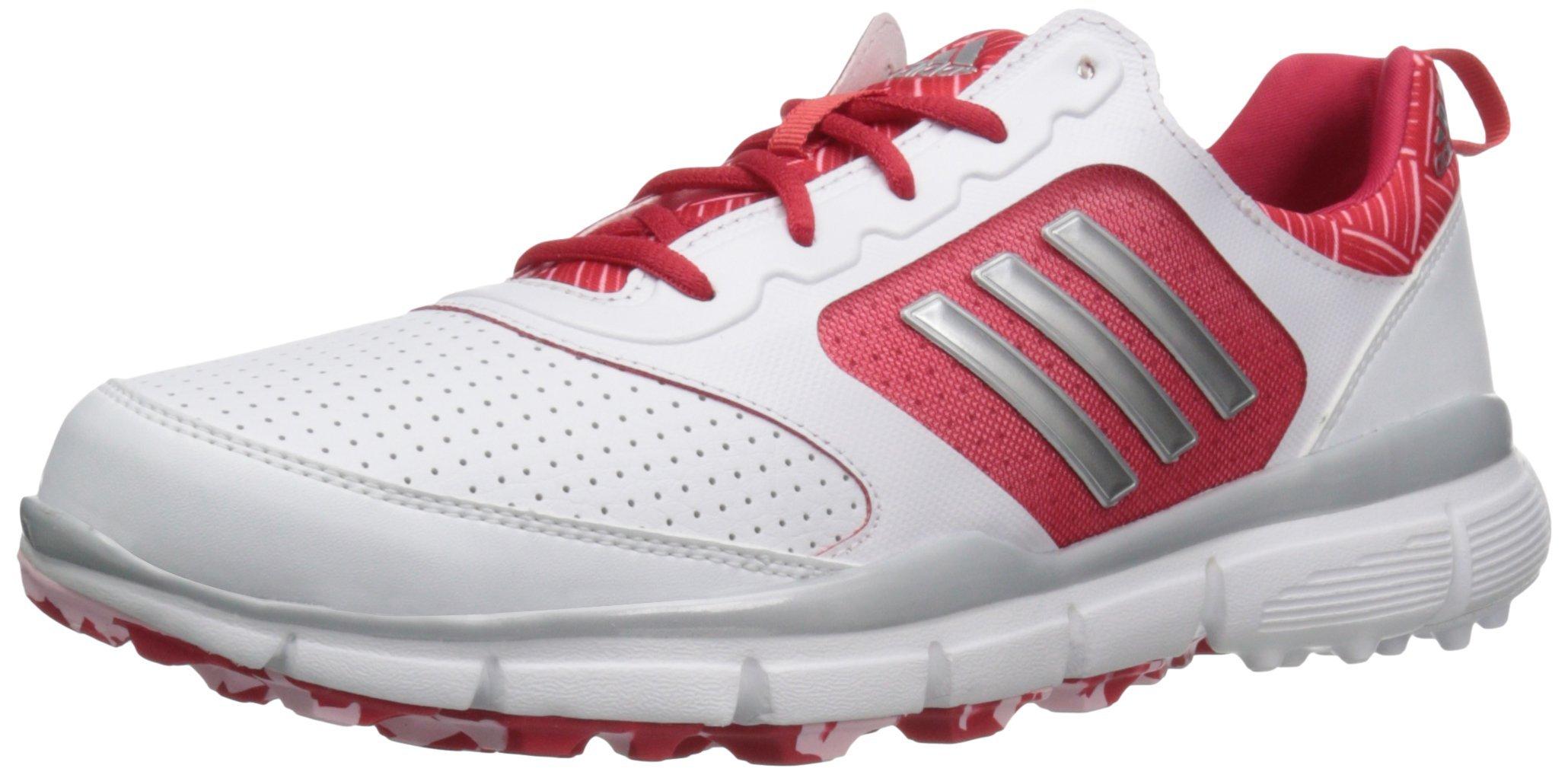 adidas Women's W Adistar Sport Golf Shoe, Fatwa White/Matte Silver/Ray Red Fabric, 9 M US