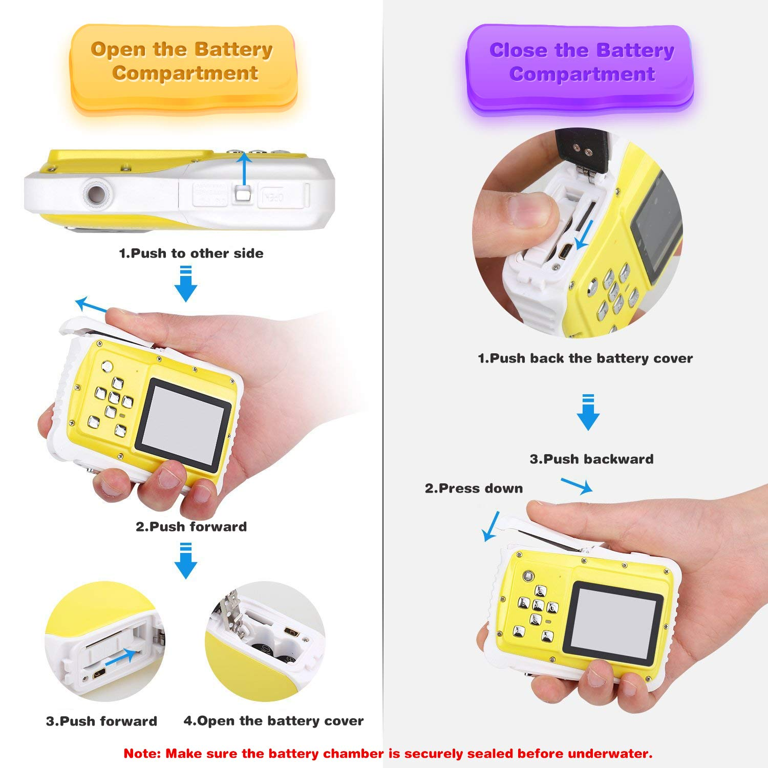 Kids Waterproof Camera Digital Camera for 4-10 Years Old Children, 12MP HD Underwater Action Camera Camcorder with 8X Digital Zoom, 2.0 Inch LCD Display, 16G Micro SD Card – Easy to Use (Yellow) by tesha (Image #4)