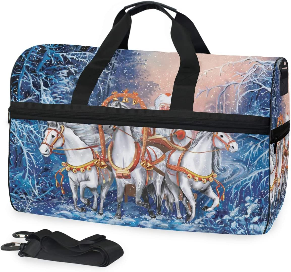 FANTAZIO A Russian Triple Of Horses With Santa Rides In Winter Forest Sports Duffle Bag Gym Bag Travel Duffel with Adjustable Strap