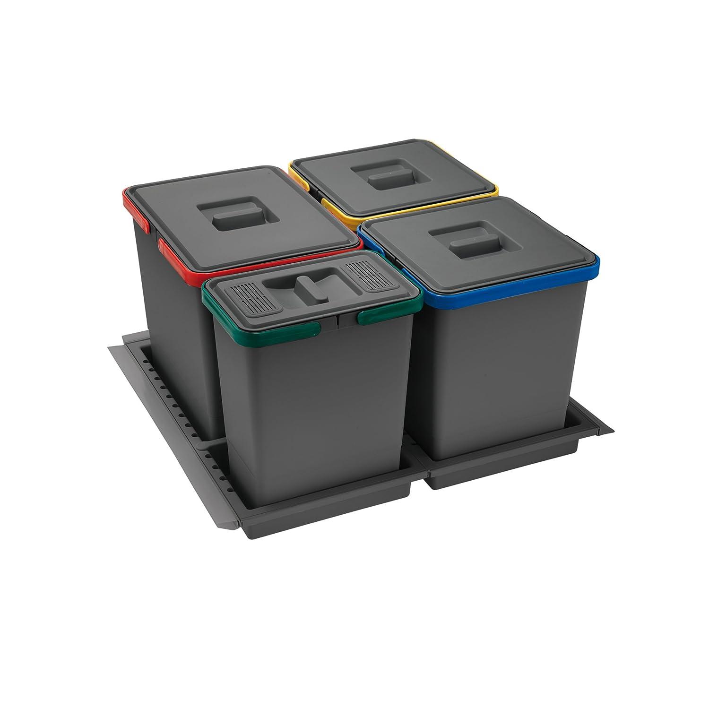 Elletipi Metropolis PTC28 06050 2F C10 PPV Pattumiera Differenziata da Cassetto, Grigio, 51x46x28 cm