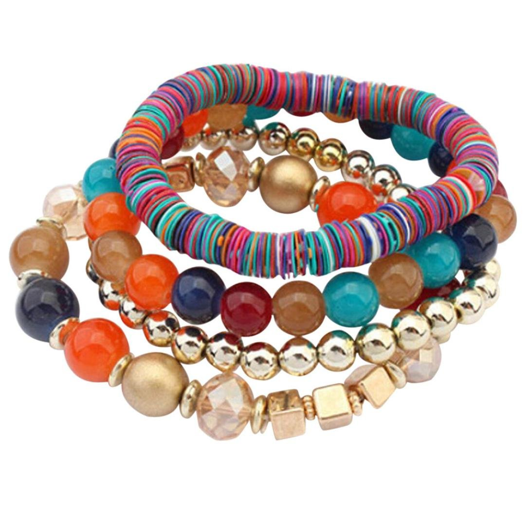 BSGSH Multilayer Bohemian Beaded Bracelet Charm Stretch Adjustable Beach Bangle Bracelet Set Wristband (Multicolor)