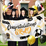 "Graduation Decorations 2021, Congrats Grad Banner Party Supplies 24PCS - Extra Large 70"" X 36"" Congratulations Graduate Banne"