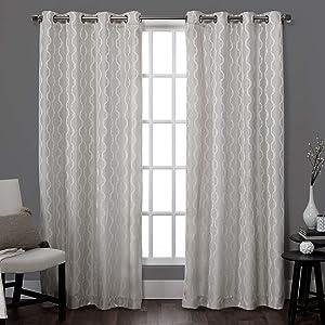 Exclusive Home Baroque Textured Linen Look Jacquard Grommet Top Curtain Panel Pair, Dove Grey, 54x84