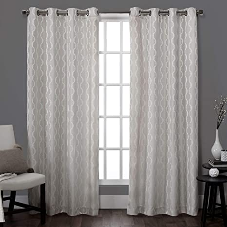 Buy Exclusive Home Baroque Textured Linen Look Jacquard Grommet Top Curtain Panel Pair Dove Grey 54x84 2 Piece Online At Low Prices In India Amazon In