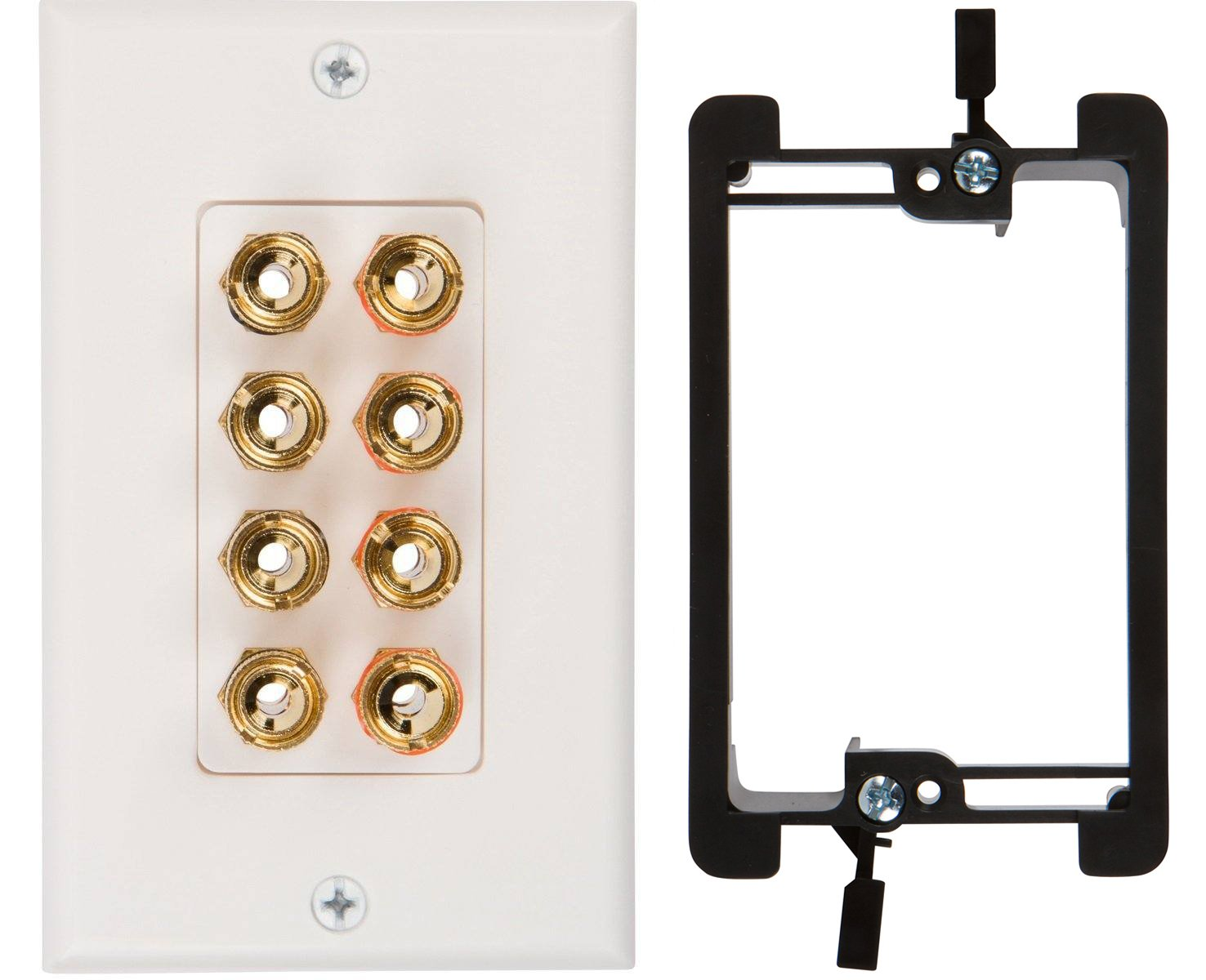 Buyer's Point Four Speaker Wall Plate, Premium Quality Gold Plated Copper Banana Binding Post Coupler Type, with Single Gang Low Voltage Mounting Bracket Device