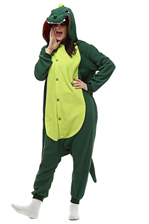 Leavelive Kigurumi Cute Animal Costume Adult Onesie Pajama, Green Dinosaur, S(150-