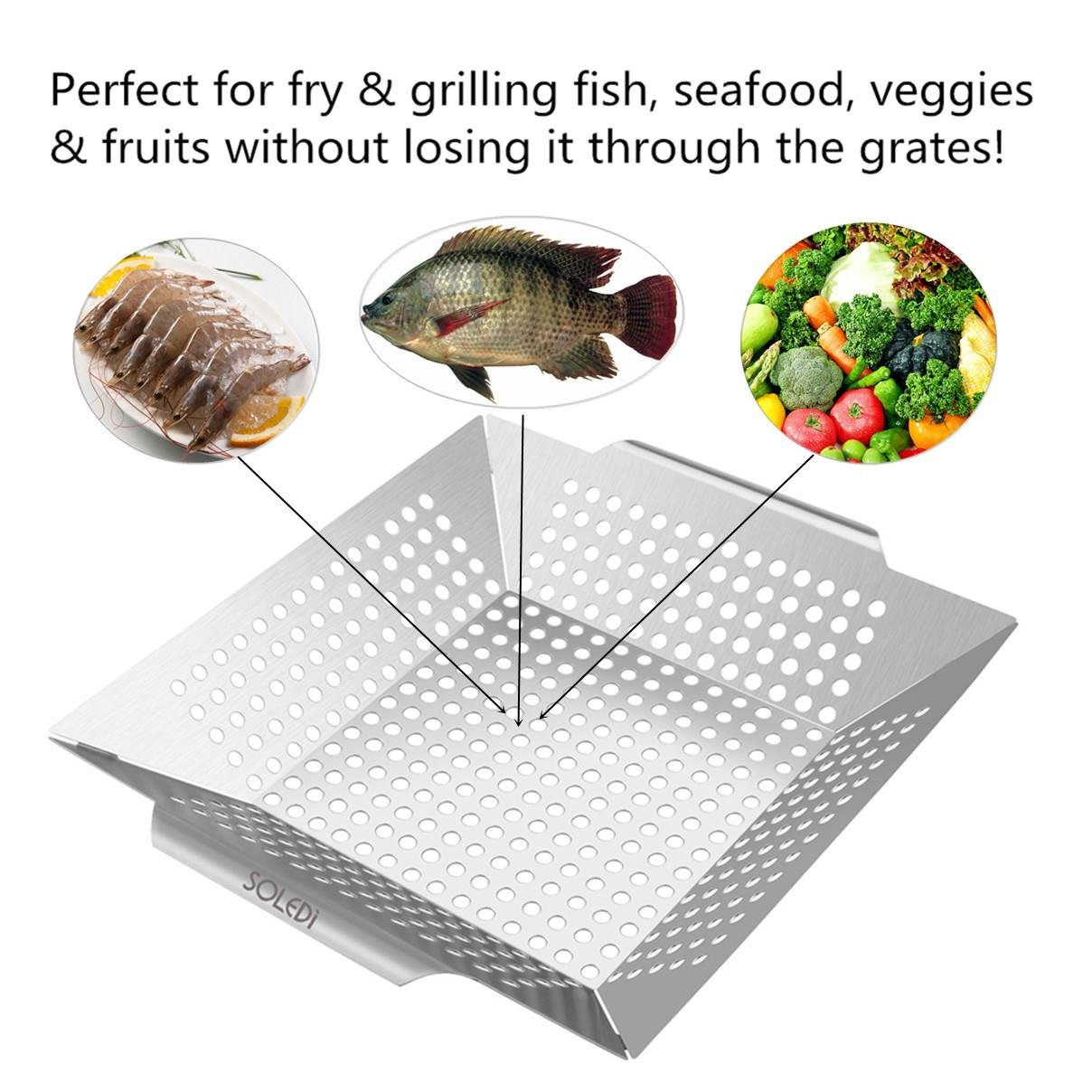 Grill Basket Soledi Grilling Accessories Professional Grade 430 Stainless Steel Wok, Meat Grilling Basket, BBQ, Barbecue, Veggie, Fish, Quesadilla, Shrimp, Corn, Kabob