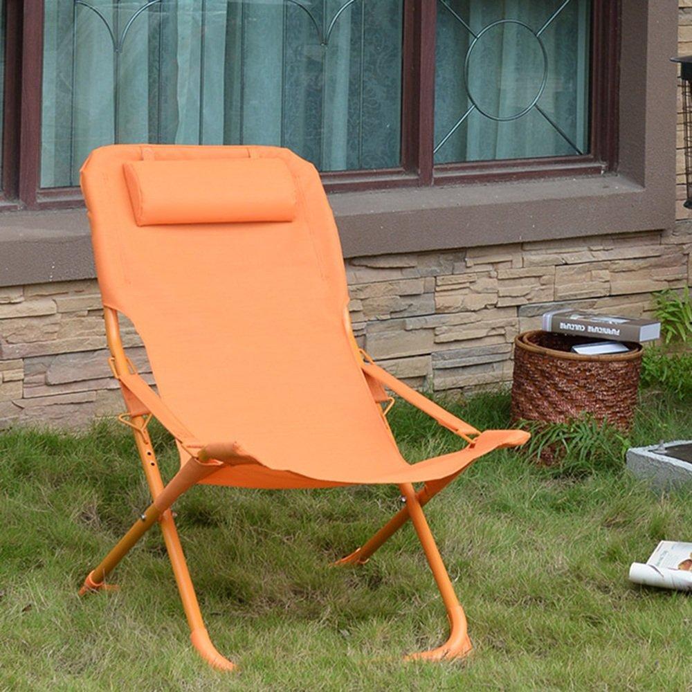 QFFL シンプルなピュアカラー軽量折りたたみチェア/カジュアルオフィス実用シエスタ背もたれ椅子/屋外ポータブルビーチチェア/バルコニーガーデンラウンジチェア アウトドアスツール (色 : Orange) B07F82BV4D Orange Orange