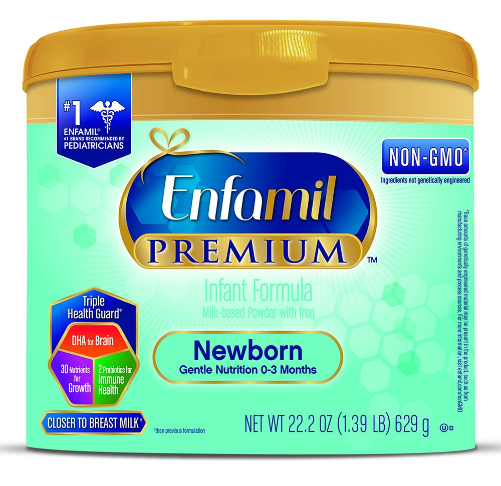 Enfamil Newborn PREMIUM Non-GMO Infant Formula, Powder, 22.2 Ounce Reusable Tub