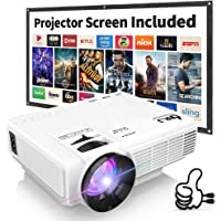 "DR. J Professional HI-04 1080P Supported 4500lumens 4Inch Mini Projector with 170"" Display - 40,000 Hours LED Full HD Video Projector, Compatible with HDMI,USB,SD (Latest Upgrade)"