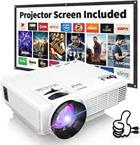 """DR. J Professional HI-04 1080P Supported 3500lumens 4Inch Mini Projector with 170"""" Display - 40,000 Hours LED Full HD Video Projector, Compatible with HDMI,USB,SD (Latest Upgrade)"""