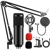 AMZATEK USB Micrófono Kit Condensador Profesional Grabación 192khz,Micrófono Condensador para Radiodifusión y Grabación,Sopor