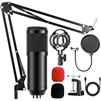 AMZATEK USB Micrófono Kit Condensador Profesional Grabación 192khz,Micrófono Condensador para Radiodifusión y Grabación…