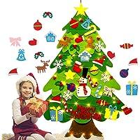 OonlyoO Árvore de Natal de feltro, árvore de Natal DIY macia com ornamentos, para crianças