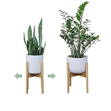 Plant Stands Indoor   Mid Century Modern Indoor Plant Stand   Adjustable Width 9  to 12  (Planter Pot NOT Included)  Natural, Brown, Black Bamboo Wood   Tall Pots Holders   Large Planters Holder