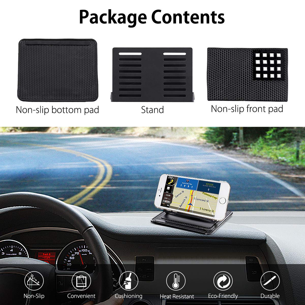 Universal 360 Rotating Dash Smart Stand Non-Slip GPS Holder Silicone Dashboard Car Sticky Pad Mat for Cell Phone GPS Car Dashboard Mount Holder Audew Car Phone Holder
