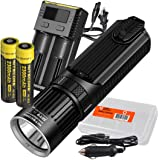 Nitecore SRT9 2150 Lumen Multi-LED Smartring Tactical Flashlight (White, Red, Blue, Green, & UV) PLUS 2x 2300mAh 18650 Batteries, Nitecore i2 (2016) 2-Port Charger, & LumenTac Battery Organizer