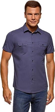oodji Ultra Hombre Camisa con Bolsillos en el Pecho e Inscripción en la Espalda: Amazon.es: Ropa y accesorios