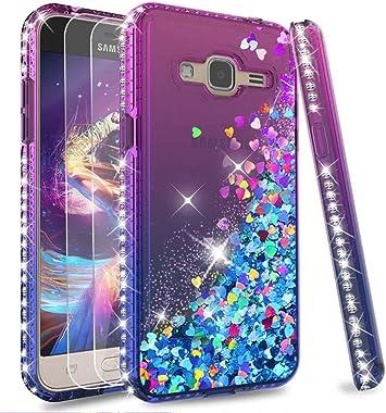 LeYi Coque Galaxy J3 2016 avec Verre Trempé [Lot de 2], Fille Personnalisé Liquide Paillette Transparente 3D Silicone Gel Antichoc Kawaii Étui pour ...