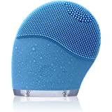 Facial Cleansing Brush Electric, Uni-Right Silicone Face Massager Brush Waterproof Anti-Aging Skin Cleanser and Deep Exfoliator Makeup Tool for Facial Polish and Scrub (Sky Blue)