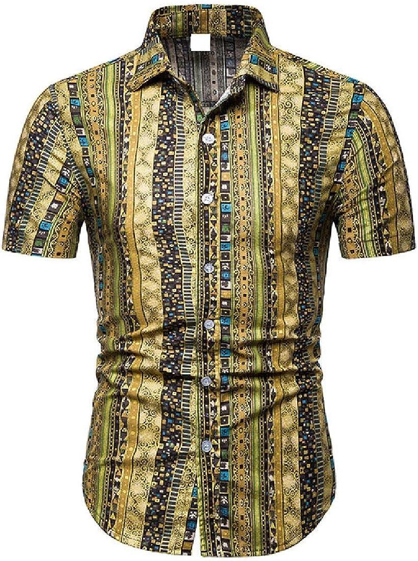 Vska Men Casual Short Sleeve Trible Floral Print Plus Size Shirt