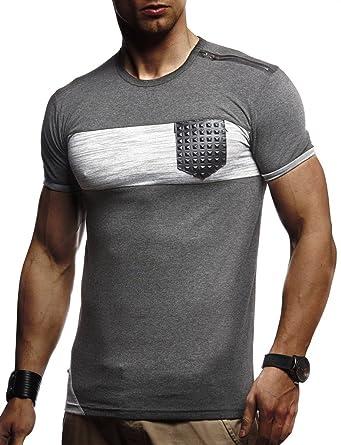 68c6b22303d55 LEIF NELSON Herren Sommer T-Shirt Rundhals-Ausschnitt Slim Fit  Baumwolle-Anteil
