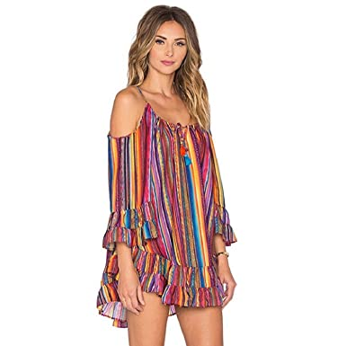 dc0452586e8ad Yistu Cool Unique Women s Summer Rainbow Print Fringed Beach Dress Loose  Chiffon Strap Dress (S