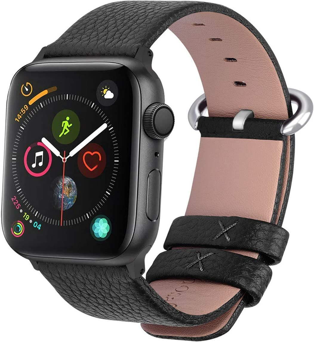 Fullmosa Correa Compatible Apple Watch 44mm 42mm 40mm 38mm, YAN 15 Colores Correa Cuero Pulsera para iWatch Series 5 4 3 2 1, Negro 42mm 44mm