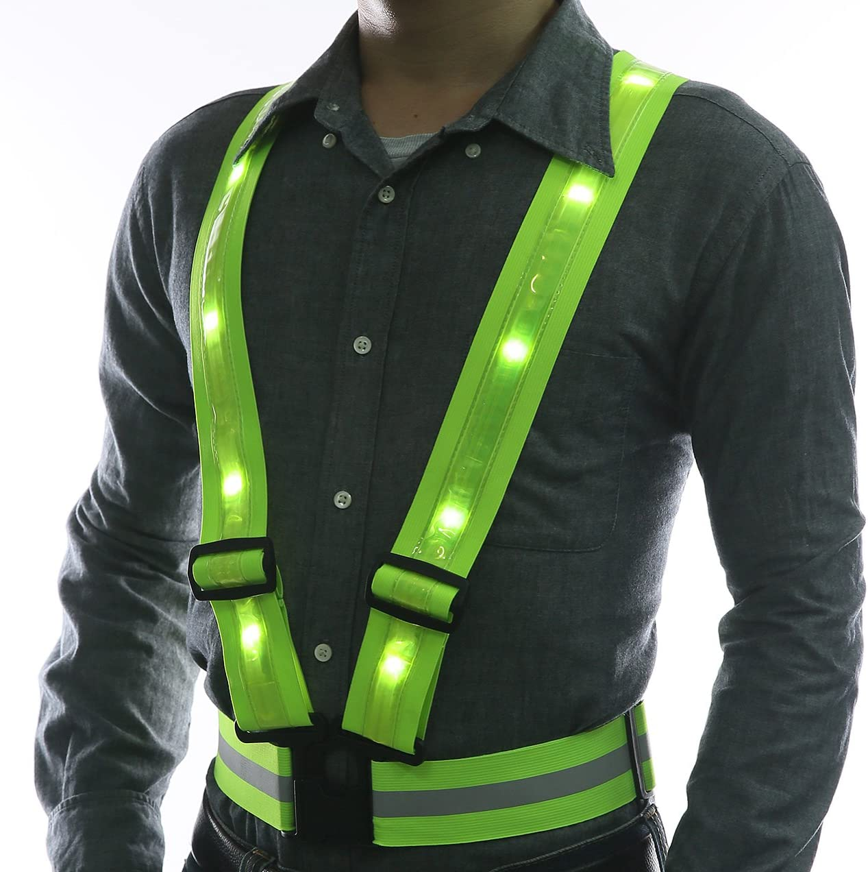 LED Reflective Safety Vest by Glowseen-USB Rechargeable-High Visibility with Reflective Stripes for Outdoor Activities Vest-Green