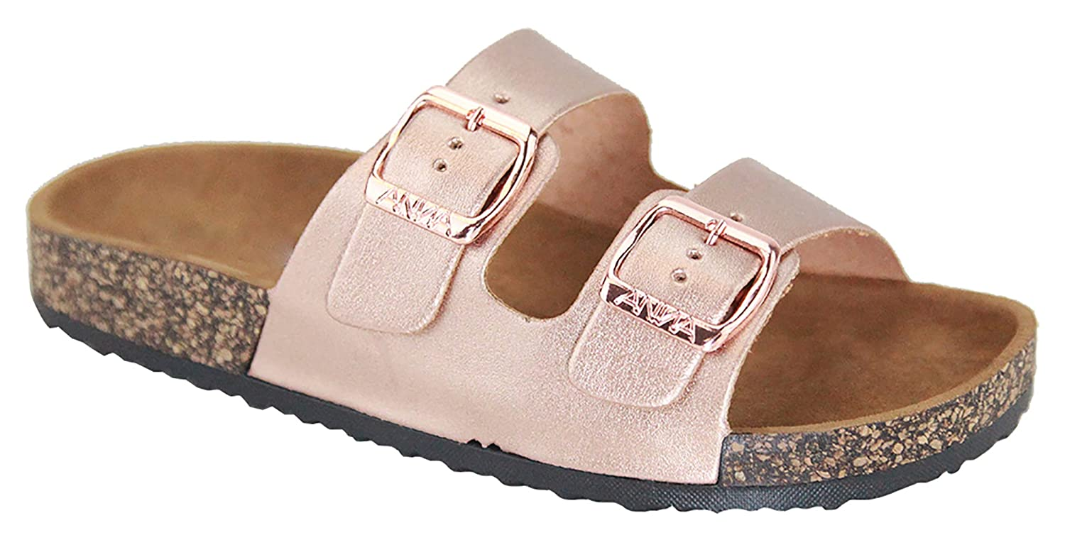 MVE Shoes Women's Open Toe Strappy Flat SandalslComfort Summer Cork SlidelFlipFlop